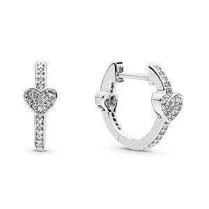 top 925 Sterling Silver Heart Stud Charm Earring Original Box for Pandora Alluring Hearts Hoop Earrings luxury designer rose gold jewelry women earrin