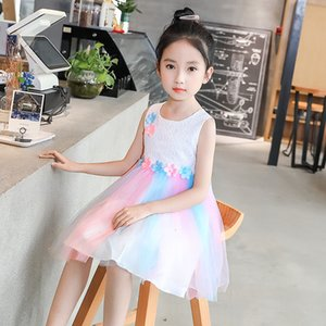 Children's Clothing 2021 Summer New Baby Princess Vest Foreign Style Flower Splicing Raiow Screen Skirt Girl's