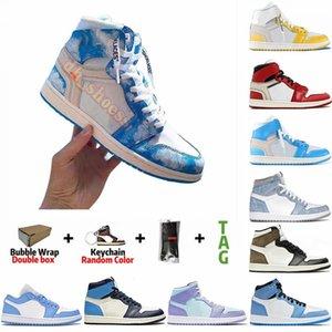 أحذية رجالي أبيض 1 1s الجامعة الأزرق Hyper Royal Travis Scotts الكناري الأصفرهواءرجعيةكرة سلة