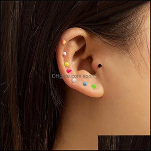 Jewelryeuropean Geometric Candy Color Stick Retro U-Shaped Combination Stud Earrings Women Stainless Steel Colorf Ear Nail Jewelry Aessories