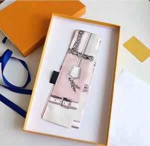 Lenço de seda Moda Cachecol Mulheres 100% Designer de fita pequena