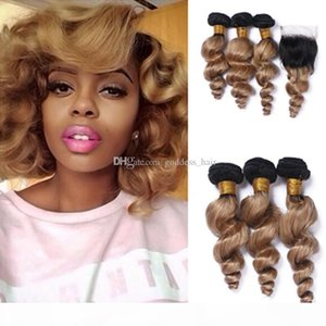 New Arrival #1B 27 Blonde Dark Root Ombre Loose Wave Brazilian Human Hair Bundles Weaves With Lace Closure Free Part 4Pcs lot