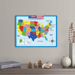 United State Map Wall Poster School Supplies Classroom kindergarten decoration For Kids -Double Side Educational Laminated Waterproo DDA5305