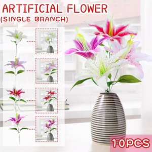 Artificial Lilies Flower Home Simulation Bouquet Decoration Wedding Hand Fake Flowers Table Centerpieces #40 Decorative & Wreaths