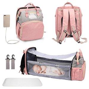 Fashion Portable Folding Crib Diaper Bag Multi-Function Large Capacity Baby Backpack Stroller Organizer 210907