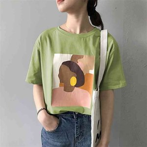 Sweetkama Fashion T Shirt Donna Harajuku Graphic Tees Carattere Manica Corta Collo Bianco Verde Verde Green Beige Estate T-shirt 210401