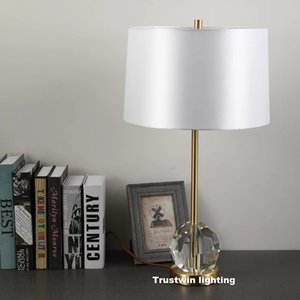 Luxury Table Lamps decorative crystal LED desk light for hotel family foyer bedside copper fabric lamp