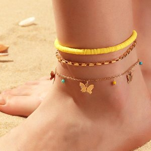 Anklets Bohemian Cute Handmade Rice Beaded Love Colorful Shell Starfish Butterfly Beach Jewelry For Women Party Vocation Gift