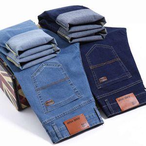 Bruder Wang Männer Business Casual Hell Blau Elastische Kraft Mode Denim Jeans Hosen Männliche Marke Hosen