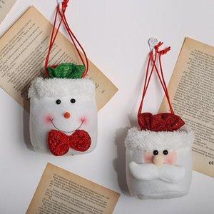 Christmas Decorations Linen Drawstring Apple Bag Santa Claus Candy Bag Xmas Children Gift Bags DHD10673