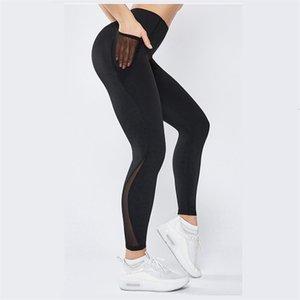 Pantalones de yoga de secado rápido Malla empalme Pure Color sin costuras jogging Leggings Mujer Gimnasio Energía Deportes Pantalones Ropa Bolsillo lateral 20AV E19