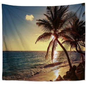 150cm*130cm Summer Seaside Tapestries Wall Hanging Tapestry Home Decorative Living Room Wall Carpet Polyester Beach Towel 644 S2