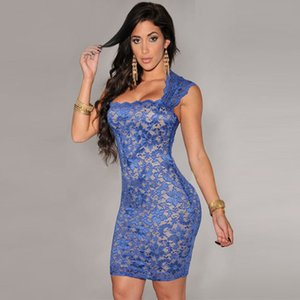 Festa Tropical q1113 Illusion Vintage Dresses LC21036 New Summer Women Casual Dress Vestidos Femininos Vestido de Royal-Blue Lace Nude