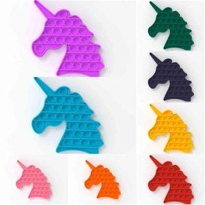 100 stücke Unicorn Bubble Poppers Zappeln Spielzeug Zubehör Push Pop Kids Angst Stress Reliever Silikon Toy Board Spiel Benötigt H41S29T