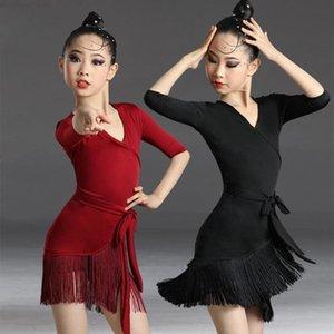 Stage Wear Children Latin Dance Dress 2021 S Tassel Fringed Tango Salsa Ballroom Kids Dresses For Girls Costume Competition