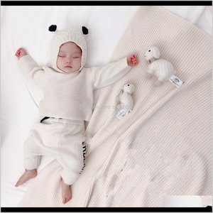 Sets Sweaters Clothing Baby, & Maternity Drop Delivery 2021 Autumn Knitted Sweater Set For Girls Boys Born Pullover+Pant+Hat Baby Blanket Out