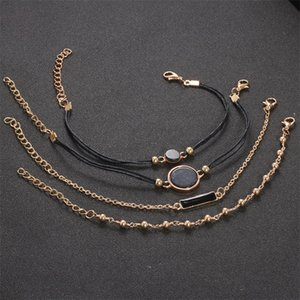 European and American style personalized black Turquoise pattern Bracelet manual chain black square trend temperament 4-piece suit 949 T2