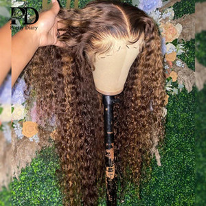 Lace Wigs 30 32 40 Inch Highlight Ombre Front Wig Curly Human Hair Honey Blonde Colored Deep Wave Frontal For Black Women