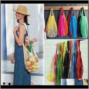 14 Colors Grocery Large Size Shopper Tote Mesh Net Woven Cotton Portable Shopping Bags Home Storage Bag Iia484 Qhoco Hnyab