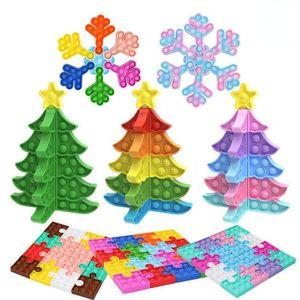 DHL Rainbow Snowflake Christmas Tree Square Jigsaw Puzzle Push Bubbles Fidget Toys Sensory Finger Desktop Early Education Toy fy2956