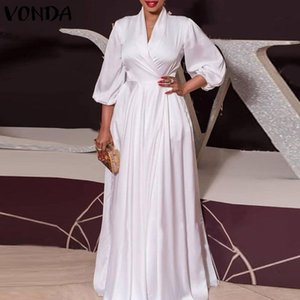 Summer Long Maxi Party Dress 2021 VONDA Sexy V Neck Sleeve Solid Dresses Plus Size Bohemian Vestidos Femme Sundress Casual