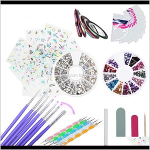 Kits Salon Health Beauty Drop Delivery 2021 Yiwa Art Brush Uv Gel Polish Painting Ding Brushes Nail Dotting French Stickers 3D Decals Manicur