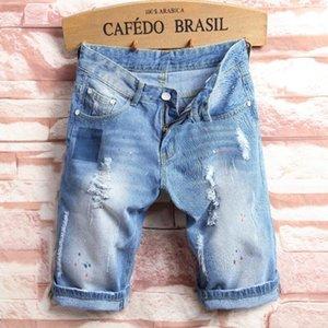 Light Blue Jeans Men Summer Hole Fashion Denim Shorts Large Size Cotton High Quality Straight Knee Length Men's