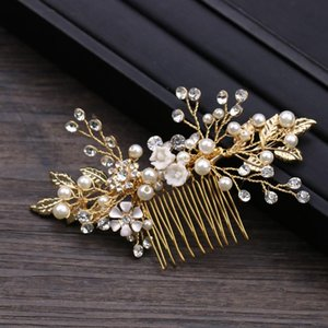Золотой цвет листьев цветочные невесты волосы гребень кристалл цветы головы кусочки свадебные булавки Tiaras Crown Wedding аксессуары клипы Barnettes