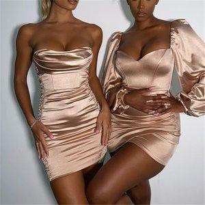 2021Articat Bodycon Party Kleid für Neujahr 2021 Frauen Satin Backless Club Kleidung Schulterfrei Strapessloses Vestidos Frau Elegant