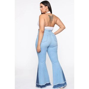 Patchwork Jeans Bulk Items Wholesale Lots Drop Winter Clothes 5xl Plus Size For Women Flare Pants Sexy High Waisted Women's
