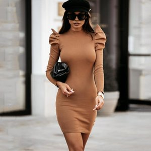 Women Mini Soft Knitted Dress Warm Sweater Elegant Puff Sleeve Bodycon Pullover Straight Christmas Party Dresses Jumper Casual