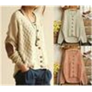 Sweater Women Knitted Wholesale-2015 Korean Vintage Elbow New Leather Patched Single Breasted Loose Cardigan Cute SweateND1Y