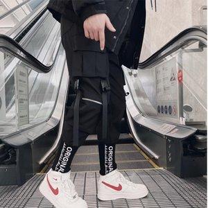 Men's Pants 2021 Sweatpants Streetwear Ribbons Techwear Joggers Cargo For Men Casual Hip Hop Hit Color Pocket Male Trousers