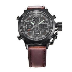 Наручные часы Top Men Chronograph Цифровые Светодиодные Кварцевые Спортивные Часы Военные Relogio Masculino Часы с кожаным ремешком