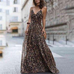 Fashion Sexy Leopard V-Neck Sling Maxi Dresses Women Summer Sleeveless Chiffon Beach Long Robe Tops Dress 210409