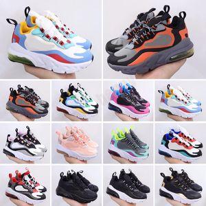 2021 React Bauhaus TD Kids Shoes Boy Girls Black White Hyper Bright Violet Toddler Children Sneakers 28-35