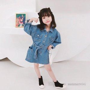 Girls denim dresses kids lapel long sleeve casual jean dress autumn children single breasted belt cowboy clothing Q2209
