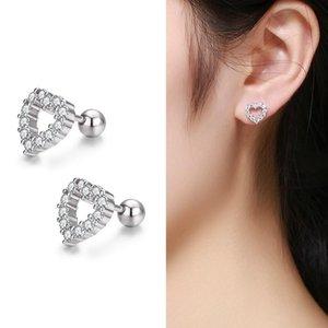 Cute 925 Sterling Silver Hollow Heart Set CZ Screw Back Stud Earrings For Women Child Girls Kids Jewellery Orecchini Aros Aretes