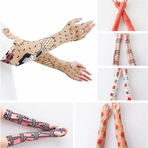 Classic Letter Plaid Arm Sleeves Men Women Cartoon Elbow Sleeve Fashion Strawberry Bears Silk Gloves Outdoor Protective Cool Wrap