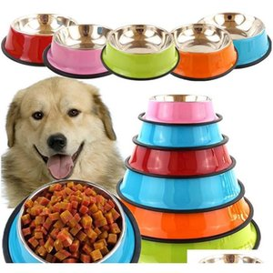 Dinnerware Kitchen Dining Bar Home Garden Drop Delivery 2021 Bowls Puppy Feeder Feeding Food Water Dish Pet Dogs Cat Dog Bowl Stainless Steel