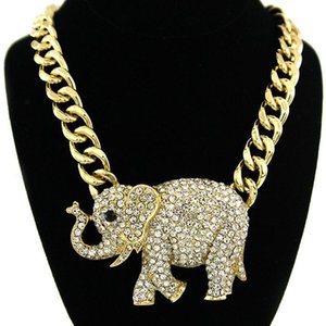 Iced Out Gold Color Elephant Pendant Pave Bling Rhinestone Animal Necklace For Men Women Hip Hop Rock Jewelry Droppshiping Necklaces