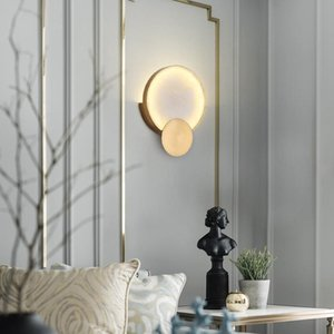 Wall Lamps Modern Round Marble LED Lights Living Room Bedside Lighting Fixtures Gold Metal Surface Mount Atmosphere Lamp