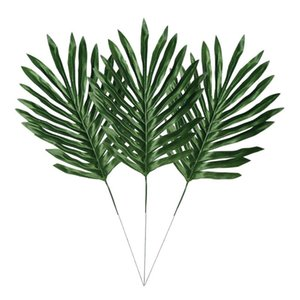 Pcs Faux Palm Leaves With Stems Artificial Tropical Plant Imitation Hawaiian Luau Party Suppliers Decorations,Tiki,Alo Decorative Flowers &