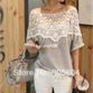 Shirt 2014 New Fashion Stylish Women Handmade Crochet Cape Lace Collar Ladies Batwing Sleeve Tee Hollow Out Female Tops