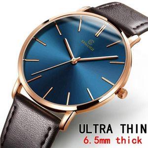 Saatı Luxus Herren UHR İnce Erkek Saatler Mavi Dial Moda Kuvars Stoklar Erkekler Izle Reloj de Lujo Hombre Erkek Kol Saati 2021