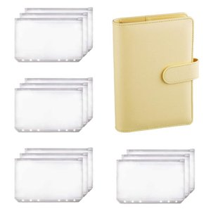 Gift Wrap A6 Binder Planner Notebook And 12 Pieces 6 Hole Zipper Folder,Binder Pockets Cash Envelope Wallet