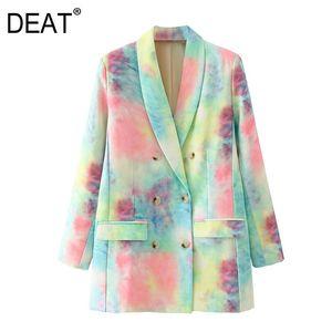 [DEAT] Women Tie-dye Hit Color Double Breasted Blazer Lapel Long Sleeve Loose Jacket Fashion Tide Spring Autumn 2021 13T387 Women's Suits &