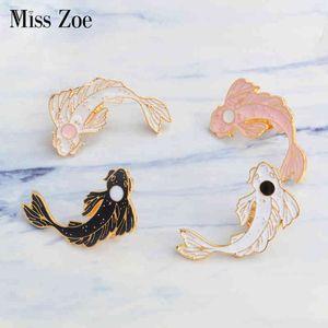Koi Miss Zoe Emaille Lucky Wit vis roze zwart Broches Denim Jeans Kleding cap tas Badge Knop Revers Pin Gift
