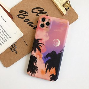 TPU phone cases for iPhone 12 11 Pro X Xr Xs Max Mini 7 8 Plus Coconut trees glow in the sunset