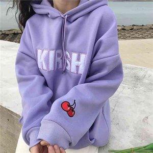 2020 Harajuku Fashion Women Hoodies Sweet Cherry Embroidery Hooded Sweatshirt Loose Hooded Letter Plus Velvet Pullovers
